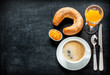 Continental breakfast on black chalkboard - 64072686