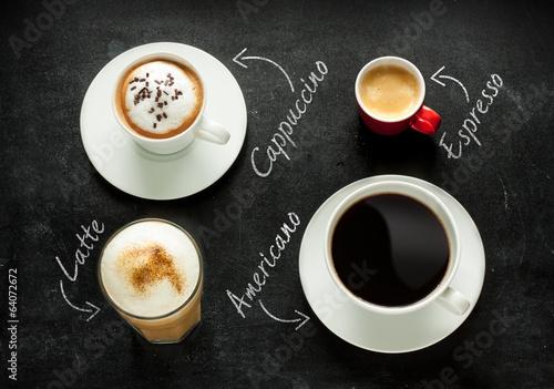 Cappuccino, espresso, americano and latte coffee - 64072672