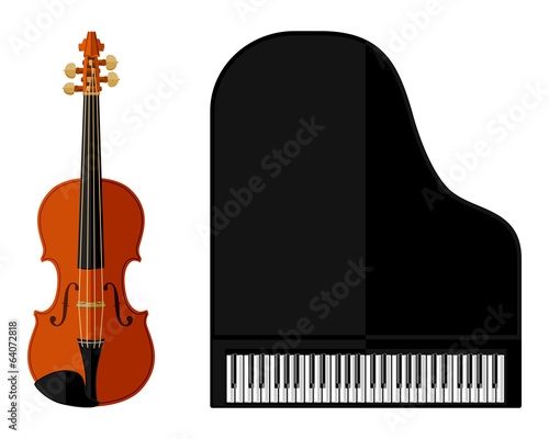 Isolated image of violin and grand piano. Flat design
