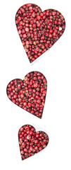Pink Peppercorns Heart Shape (on white)