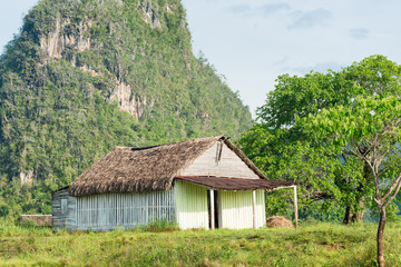Rural scene with a rustic house at the Vinales Valley in Cuba