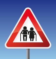 Verkehrszeichen Achtung Rentner Oma+Opa