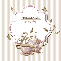Invitation Vintage Card with Cup, Pot and Flowers