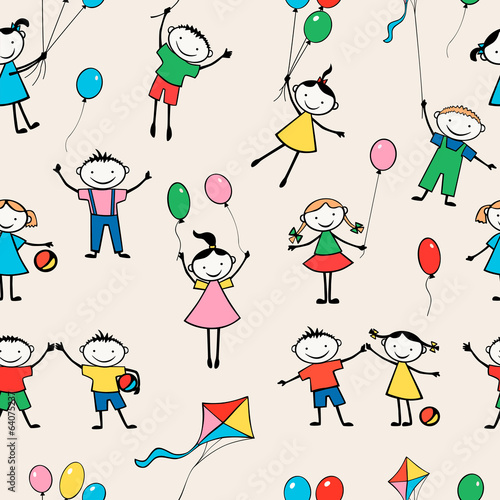 pattern of merry kids