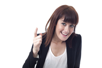 Young businesswoman showing finger