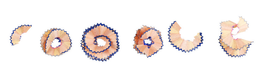 Color pencil shavings, isolated on white