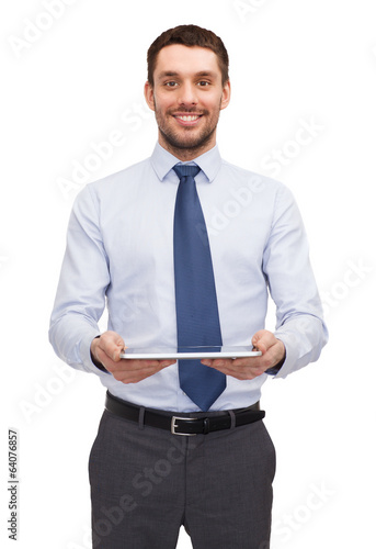 young businesswoman with tablet pc