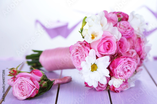 Beautiful wedding bouquet and boutonniere