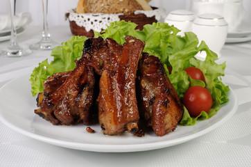Spicy pork ribs marinated in garlic