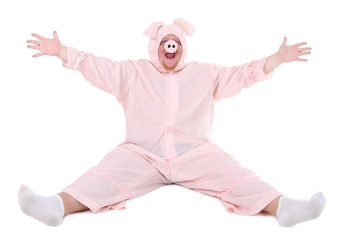 Fat man in pig costume isolated on white