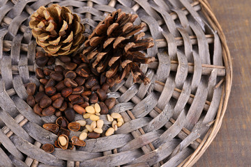 Cedar pine nuts on wooden table