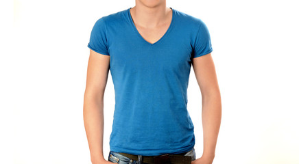 Unrecognizable man torso wearing a blank blue v-neck t-shirt.