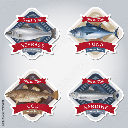 Fish labels set. Vector illustration.