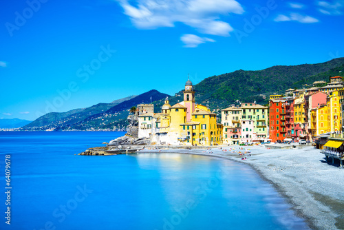 Camogli church on sea and beach view. Liguria, Italy