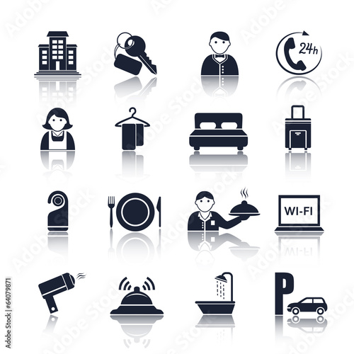Hotel travel pictograms set