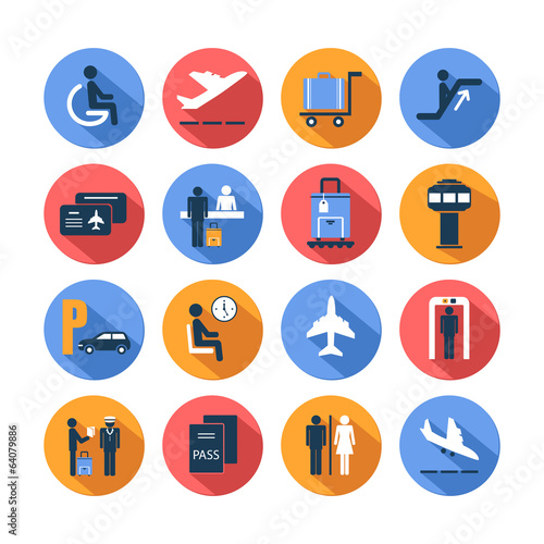 Colored airport icons set
