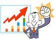 ガッツポーズのビジネスマンとグラフ
