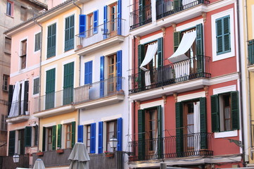 Colourful houses in Palma de Mallorca, Spain