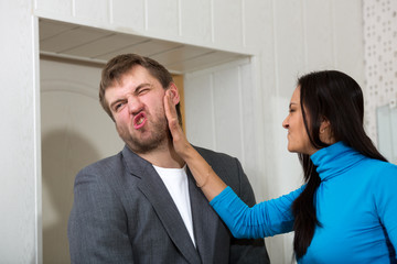 Female slap her partner