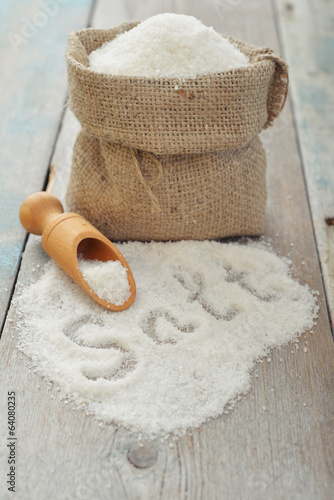 Sea salt in sack
