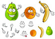 Banana, pear and orange smiling fruits