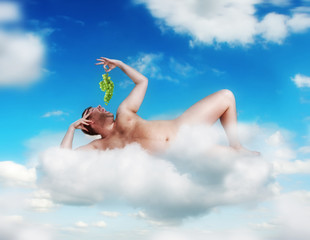 God man lying in heaven  on the cloud