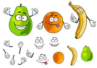Banana, pear and orange smiling fruits