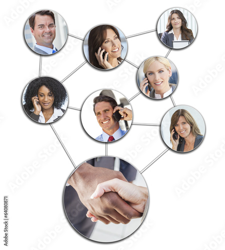 Business Men Women Cell Phone Networking
