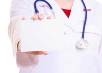 Part body in lab coat. Doctor nurse with blank card isolated