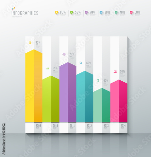 Origami paper colorful graph, design background, vector