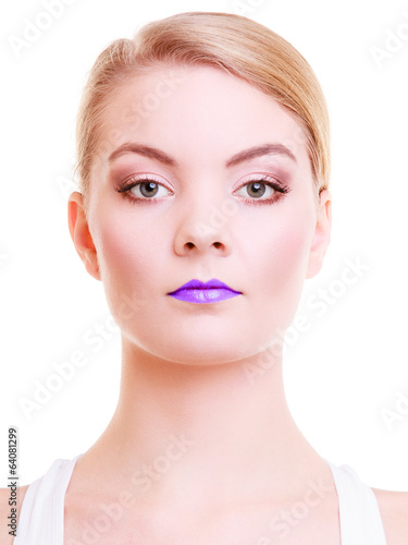 Portrait beautiful girl woman with violet lips. Creative makeup.