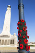 Knitted poppies at Portsmouth Naval Memorial Extension