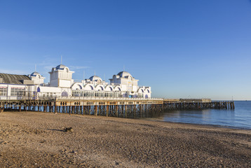 South Parade Pier, Southsea, Hampshire, UK, stony pebble beach