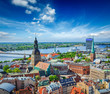 canvas print picture - Aerial view of Riga center from St. Peter's Church, Riga, Latvia