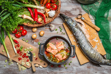 Pike and fresh vegetables for soup of fish
