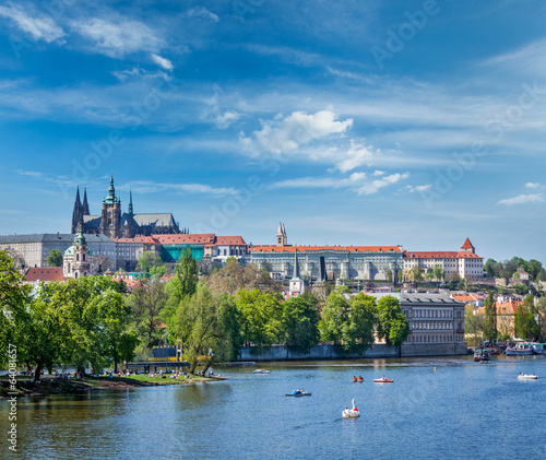 View of Charles bridge over Vltava river and Gradchany (Prague C