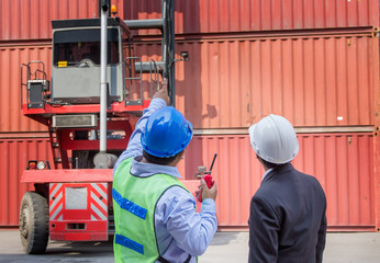 foreman control forklift handling follow order from his manager