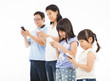 happy family touching the smart phone