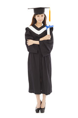 full length young woman college graduation isolated