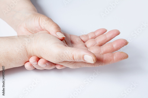 Woman hands over a white background
