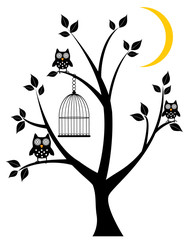 vector tree with owls, moon, cage
