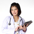 Female doctor holding Tablet