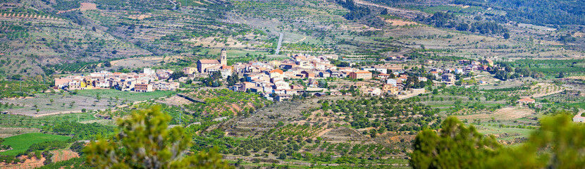 Panoramic view of a small village in Tarragona, Spain