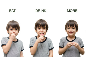 Eat ,drink, more kid hand sign language on white background