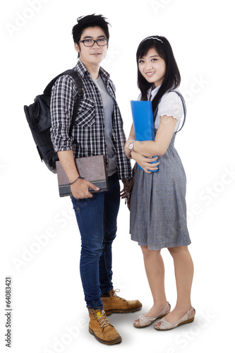Asian couple students isolated