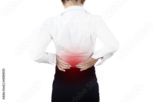 Businesswoman having back pain isolated