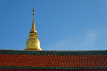 Golden pagoda architecture of northern thailand in temple