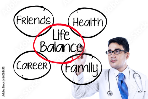 Doctor making life balance concept