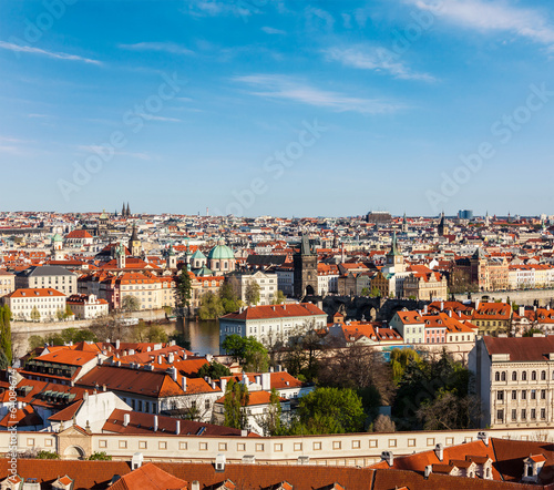 Aerial view of Prague from Prague Castle