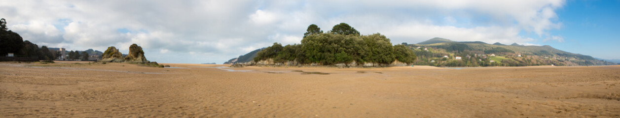 Panorama of the beach in Mundaka
